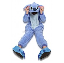 Blue Stitch Unisex Adult Pajamas Cosplay Kigurumi Onesie Anime Costume Sleepwear