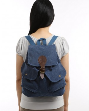 Canvas Backpack Shoulder Bag For School Travel Outdoor Rucksack