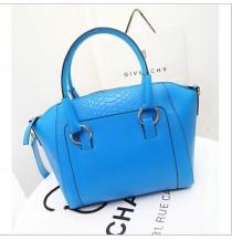 Faux croc PU bag (Blue)