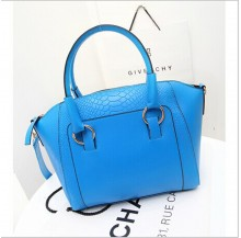 Faux croc PU bag (Blue)