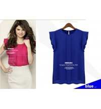 Lotus-sleeve Chiffon blouse (blue)