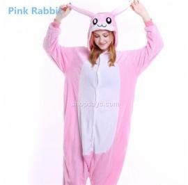 Pink Rabbit Adult Pajamas Cosplay Kigurumi Onesie Costume Sleepwear