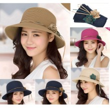 Lady Summer Sun Beach Straw Hat Sun Cover