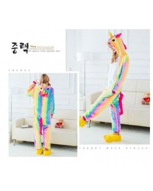 Rainbow Unicorn Adult Unisex Pajamas Cosplay Kigurumi Onesie Costume Sleepwear