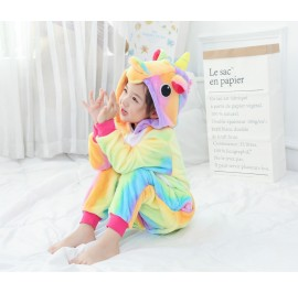 Rainbow Unicorn Kids Children Pajamas Cosplay Kigurumi Onesie Anime Costume