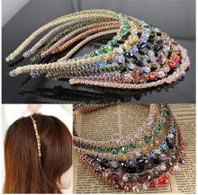 Women Rhinestone Headband Retro Crystal Beads Party Gift Hair Headwear
