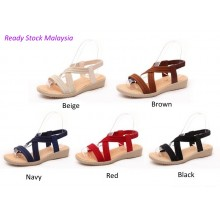 Women Flat Wedge Ankle Elastic Cross Strap Roman Sandals Slipper