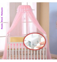 Baby Crib Netting Canopy Mosquito Insect Net with Stand Holder