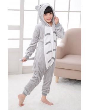 Grey Cat Kids Children Pajamas Cosplay Kigurumi Onesie Anime Costume