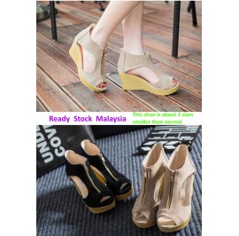 [READY MY] High Wedge Zipper Heel Lady Shoes