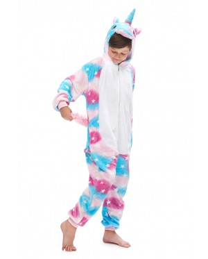 Blue star Unicorn Kids Children Pajamas Cosplay Kigurumi Onesie Anime Costume