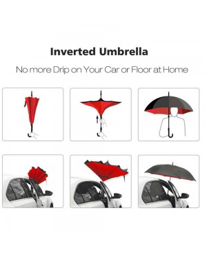 High Quality Double Layer Inverted Reverse Umbrella with C Handle
