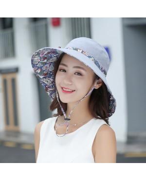Foldable 2 sides Cotton Sun Beach hat 05